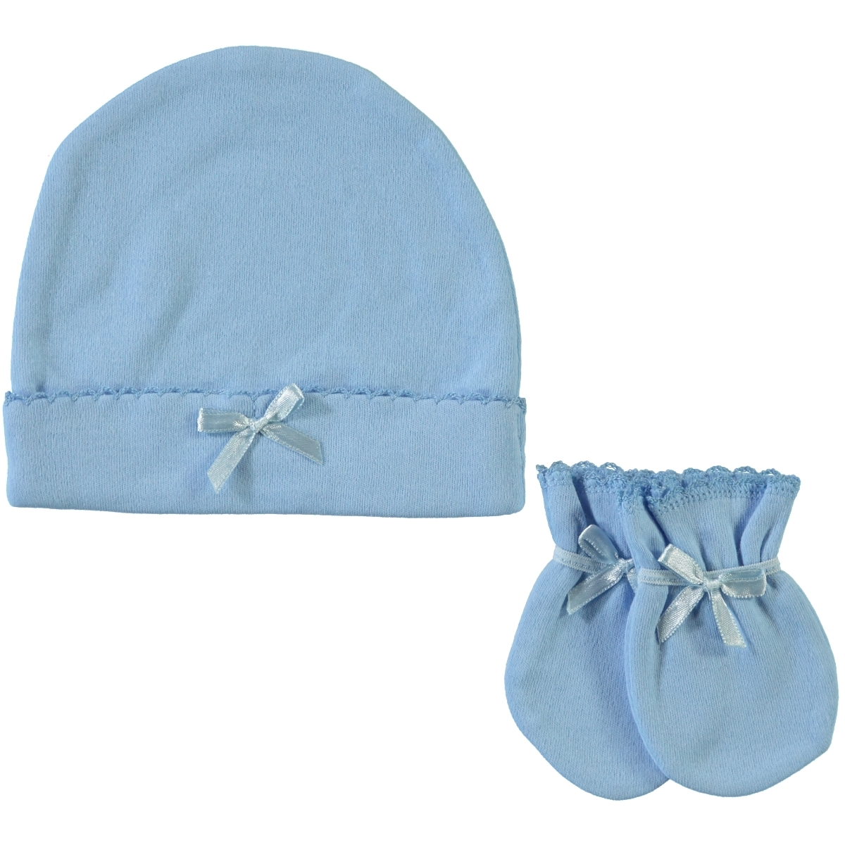 Sevi Bebe Baby Girl Hat Gloves Set-0-3 Months-Blue