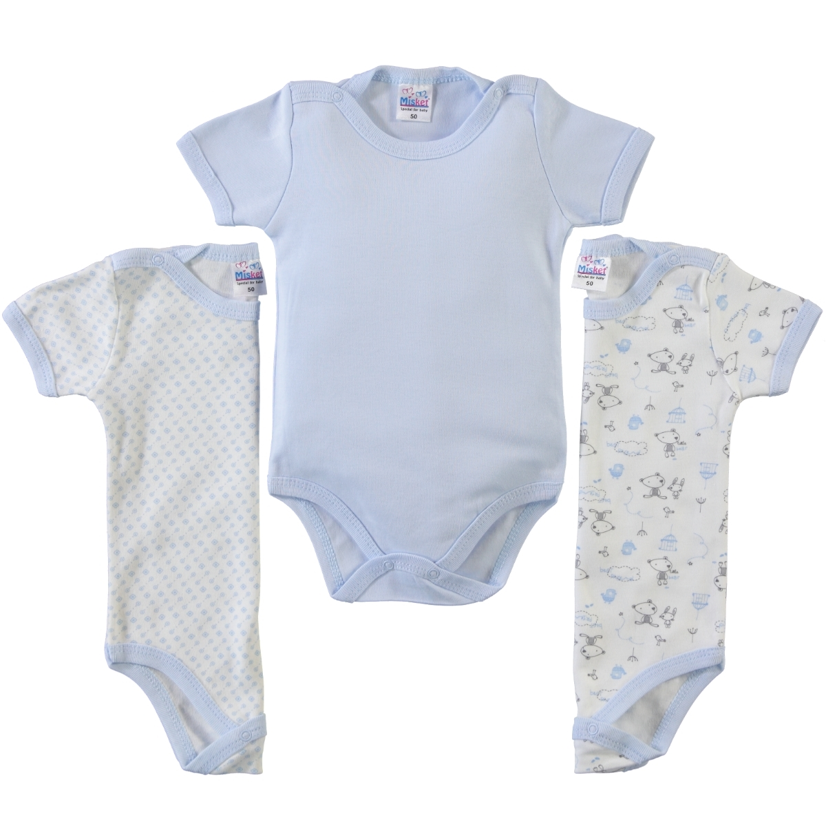 Misket Baby 3-0-12 months bodysuit with snaps, blue