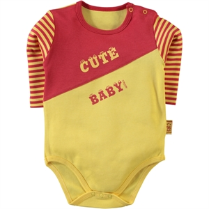 Kujju Yellow 12-24 Months Baby Boy Bodysuit With Snaps