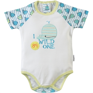 Kujju 3-9 Months Baby Boy Yellow Bodysuit With Snaps