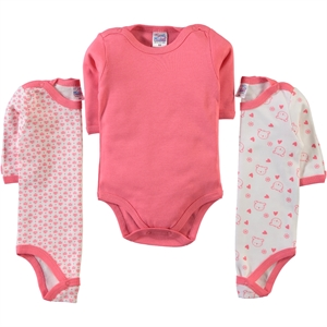 Misket Baby girl 3-way 0-12 months bodysuit with snaps, tongue in cheek