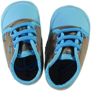 Funny Baby Baby Boy Lace-Up Booties Turquoise 16-20 Number