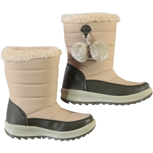 Polact Beige Pompom Boots Girl 31-35 Number