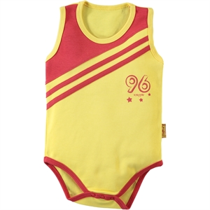Kujju 3-9 Months Baby Boy Yellow Bodysuit With Snaps (1)