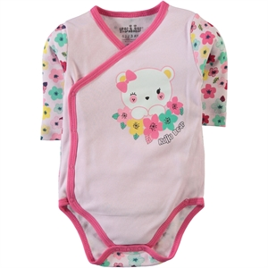 Kujju 12-24 Months Baby Girl Pink Bodysuit With Snaps