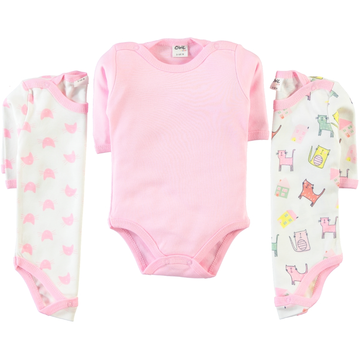 Civil Baby Baby girl 3-way 0-18 Months Pink Bodysuit with snaps