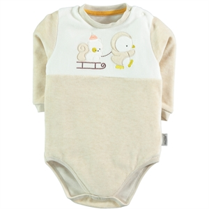 Kujju Beige Bodysuit With Snaps For 12-24 Months Baby