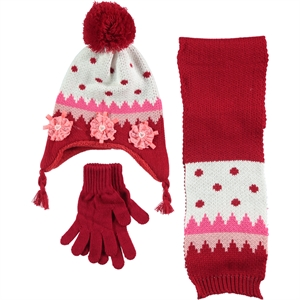 Prahar Girls Hat And Scarf Set Age 5 Red (1)