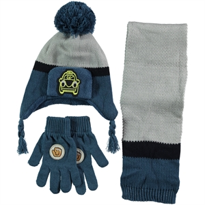 Prahar Indigo Boy Hat Scarf Set 5-8 Years