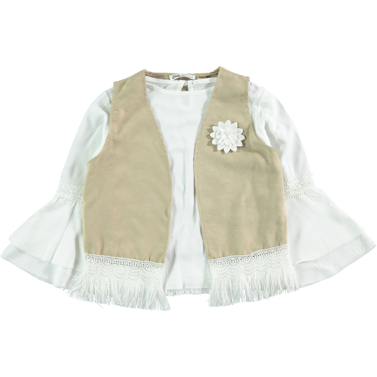 Civil Girls Beige Shirt Vest Girl Child Age 6-9