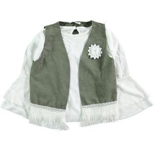 Civil Girls Kız Çocuk Yelekli Gömlek 6-9 Yaş Haki