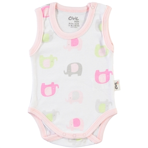 Civil Baby 0-24 Months Baby Pink Bodysuit With Snaps Mini Drip