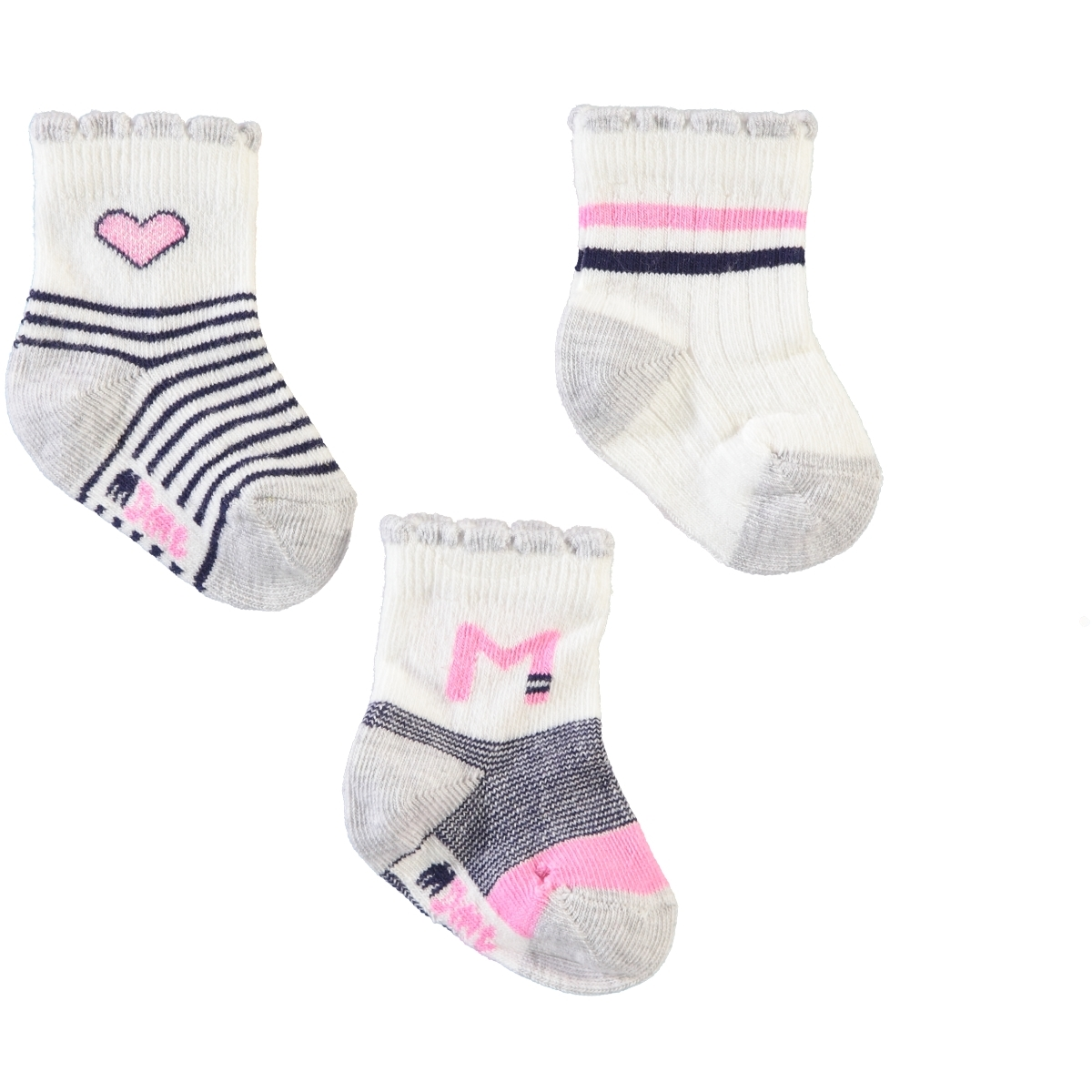 Minidamla Baby girl 3-Grey Socks 0-3 months