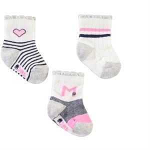 Minidamla Baby girl 3-Grey Socks 0-3 months (1)