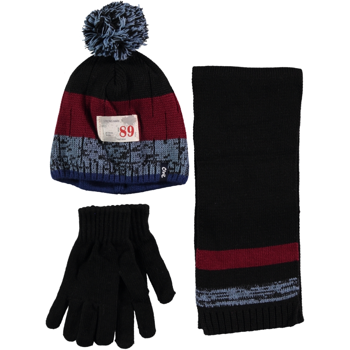 Civil Boy Hat Gloves Scarf Set Black Ages 9-15