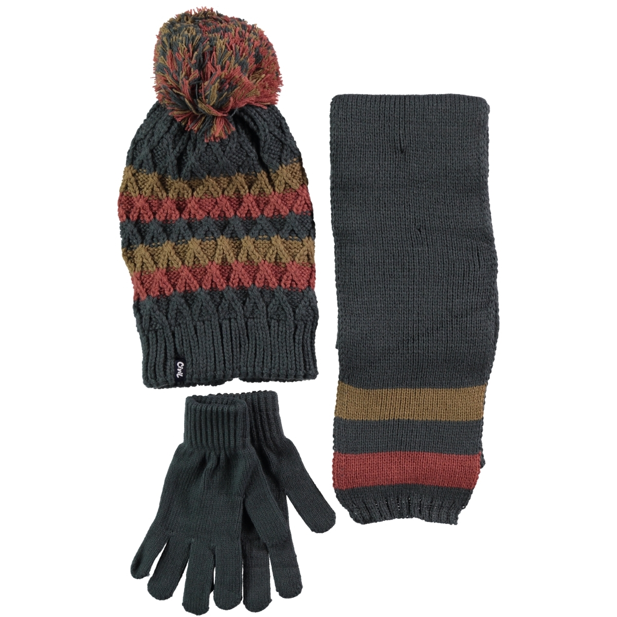 Civil Yesil Hat Scarf Gloves Set Boy's Ages 9-15