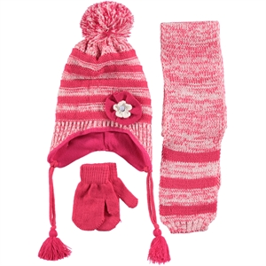 Civil Fuchsia Scarf Hat Gloves Set Girls Age 1-4 (1)