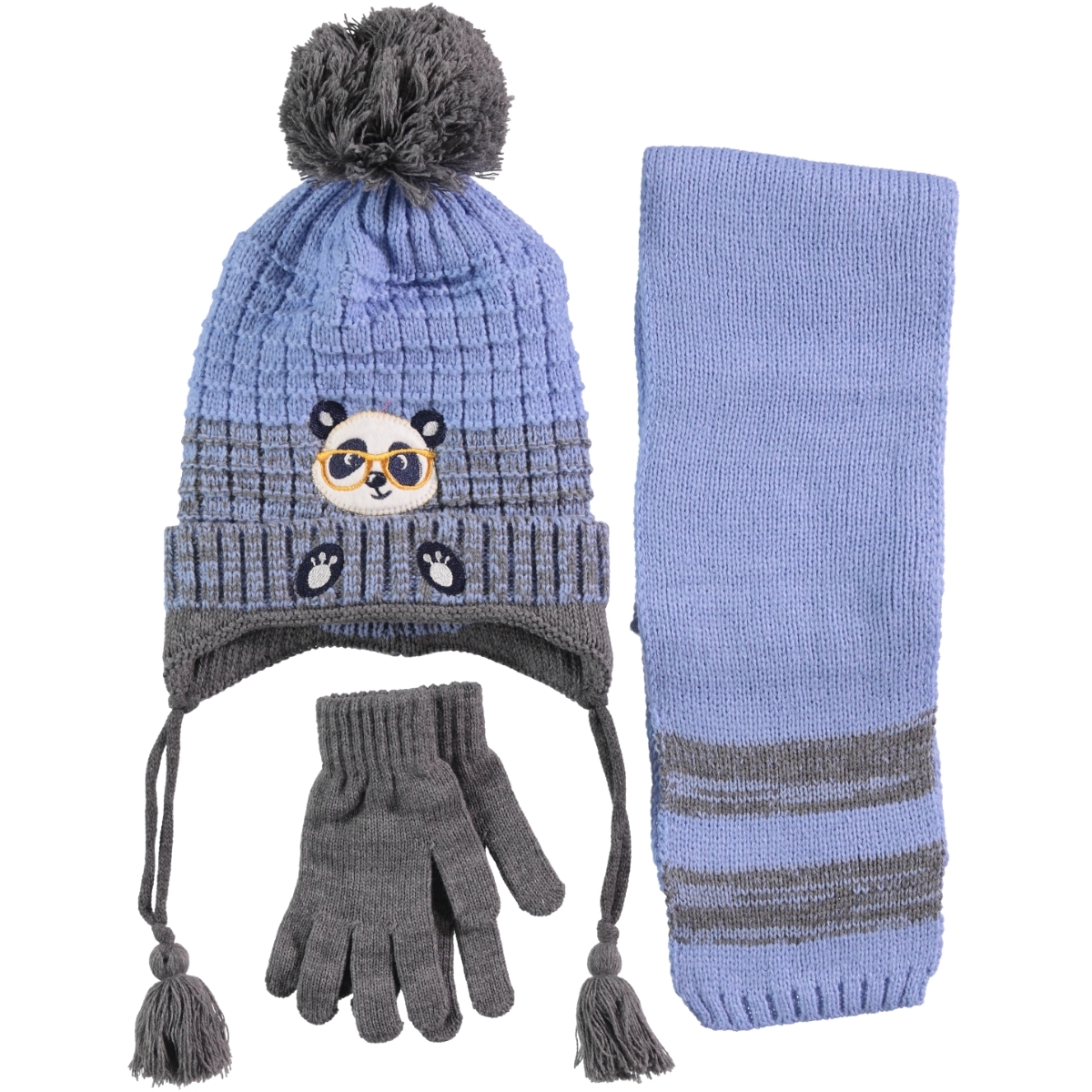 Civil Boy Hat Gloves Scarf Set Blue Ages 4-8