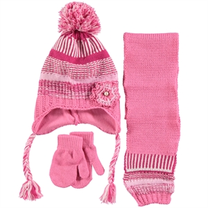 Kitti Girls Hat Scarf Gloves Set Pink Age 1-4 Civil