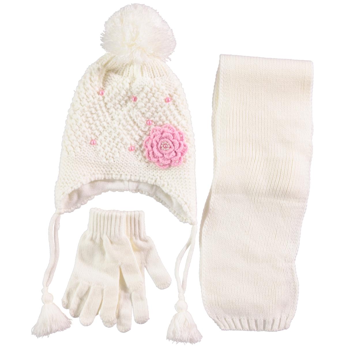 Civil Ecru Scarf Hat Gloves Set Girls Ages 4-8