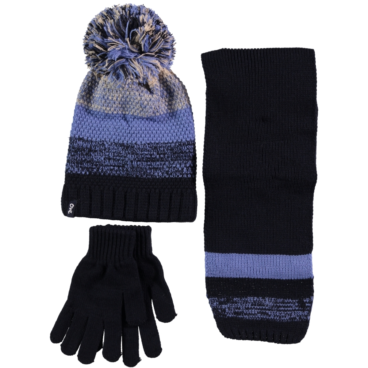 Kitti Baby Boy Hat Scarf Gloves Set Blue Ages 9-15