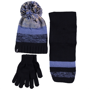 Kitti Baby Boy Hat Scarf Gloves Set Blue Ages 9-15 (1)