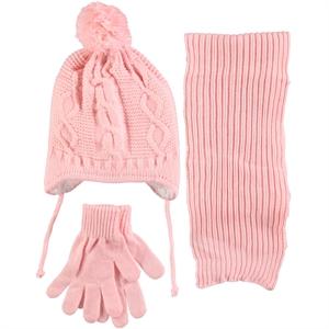 Kitti Pink Girls Hat Gloves Scarf Set Age 6-9
