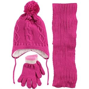 Kitti Girls Hat Gloves Scarf Set Age 6-9 Fuchsia