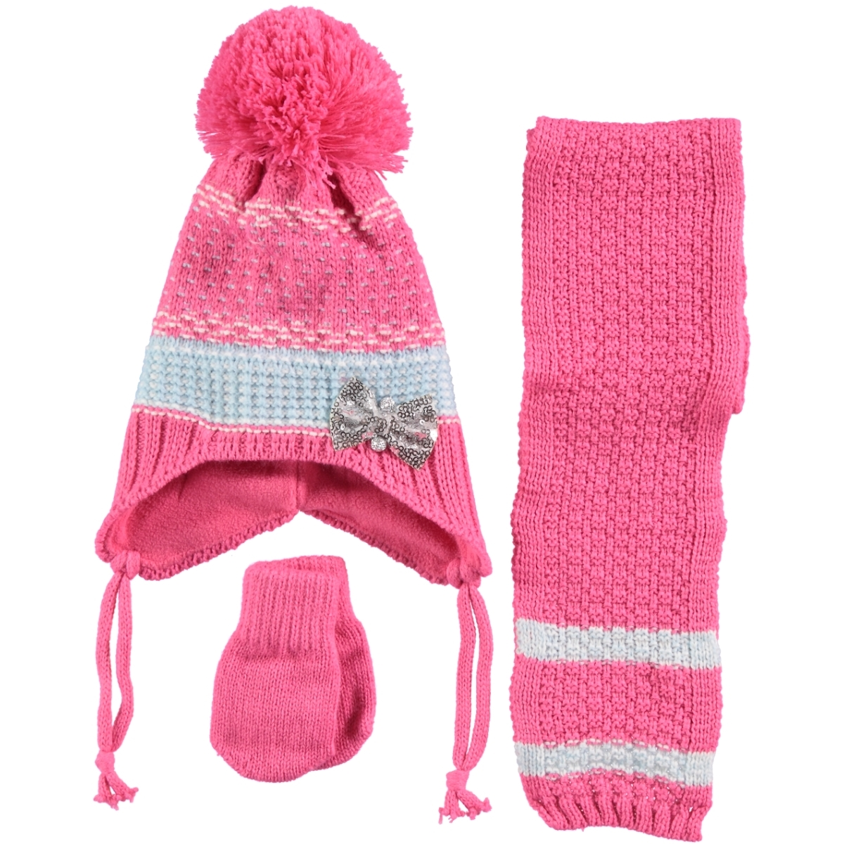 Kitti Baby Girls Hat Gloves Scarf Set 0-18 Months Fuchsia