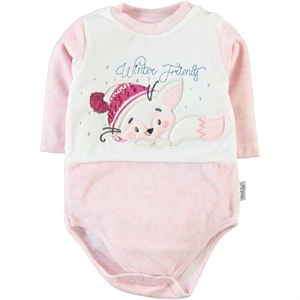 Kujju 12-24 Months Baby Pink Bodysuit With Snaps