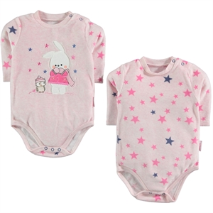 Kujju Baby girl 2-Bodysuit with snaps, pink, 3-9 months