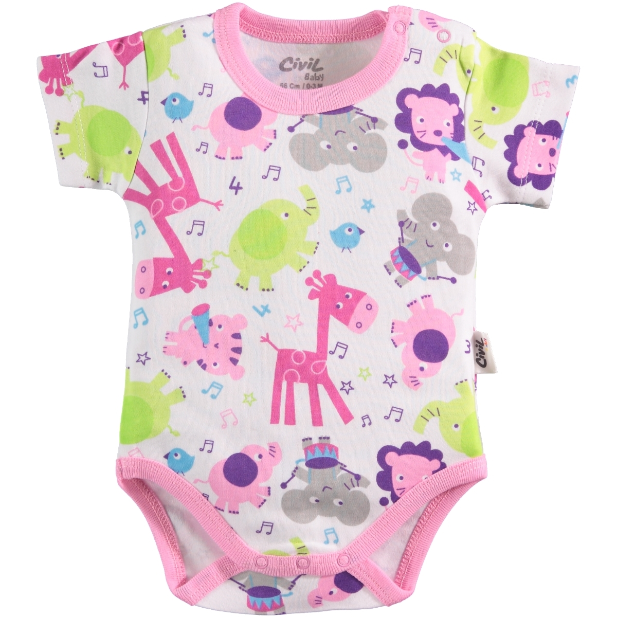 Civil Baby 0-24 Months Baby Pink Bodysuit With Snaps