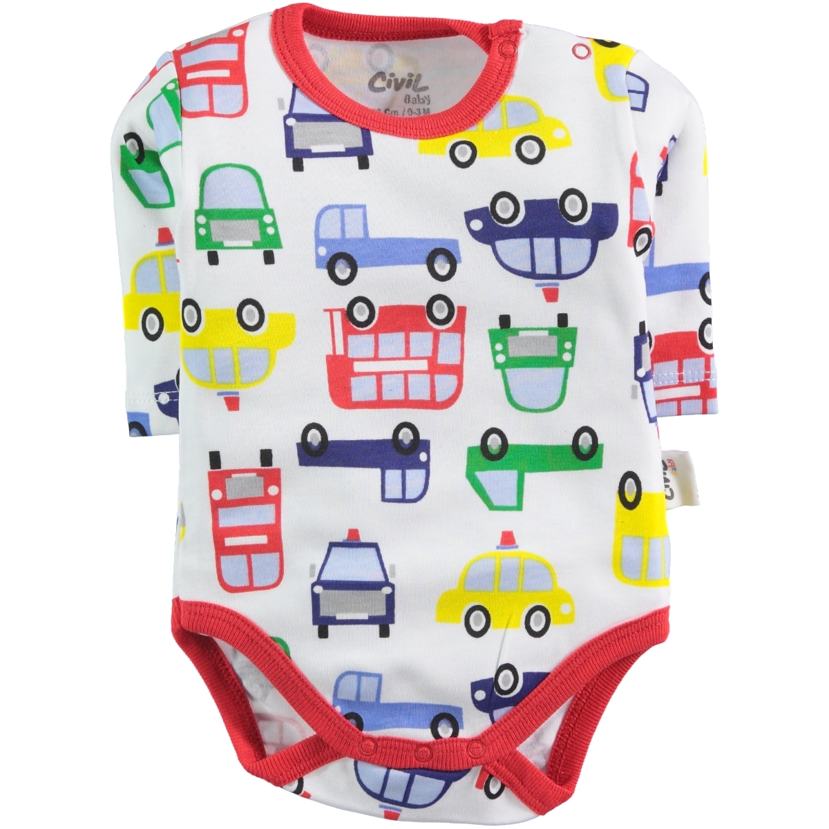Civil Baby 0-24 Months Baby Boy Red Bodysuit With Snaps