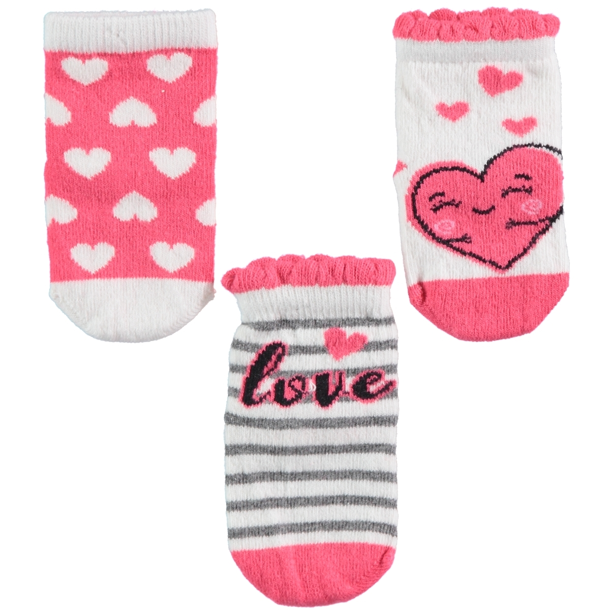 Katamino Chirping baby girl baby socks 3-set, 0-12 months, tongue in cheek