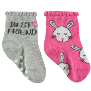 Step Baby girl socks-set of 2 Fuchsia 0-24 Months