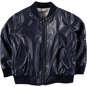 Civil Boys Boy Navy Blue Leather Coat Age 6-9