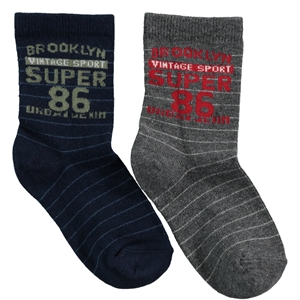 Step Boy 2-gang Socket Socks 5-11 Age Smoked