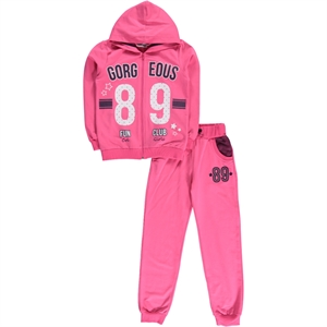 Cvl Age 10-13 Combed Cotton Hooded Sweat Suit Fuchsia
