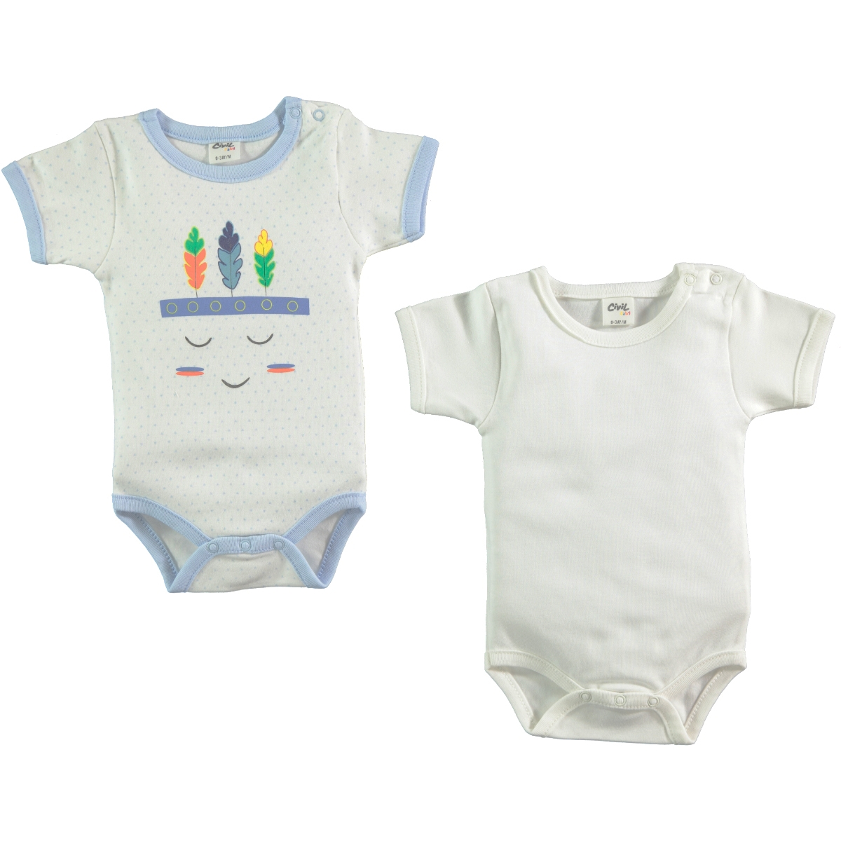 Civil Baby Baby boy 2-0-12 months bodysuit with snaps, blue