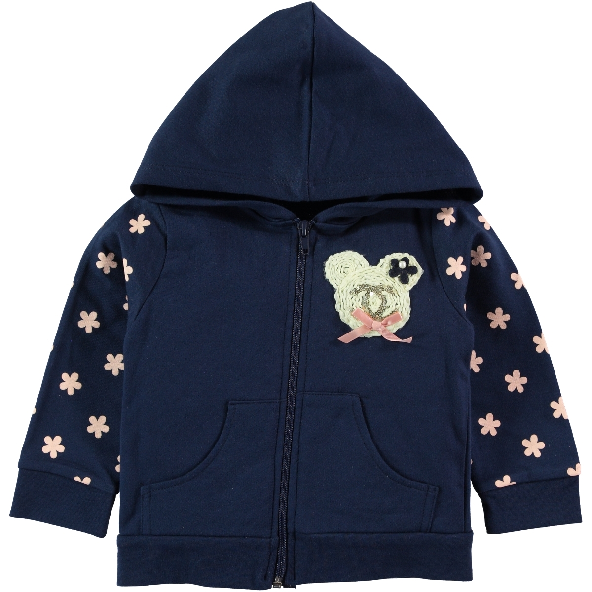 Pengim Navy Blue Hooded Cardigan For Girls Age 1-4