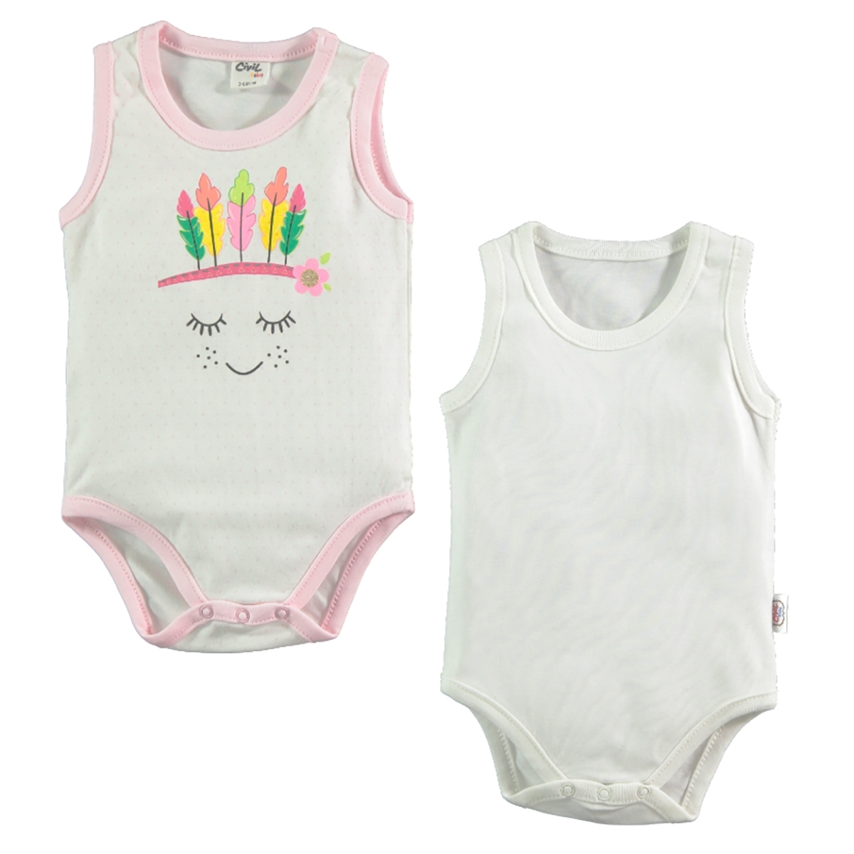 Civil Baby Baby 2-0-12 months Pink Bodysuit with snaps
