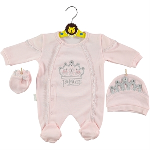 Minidamla Oh Baby Booty Pink Baby Girl Overalls 0-3 Months