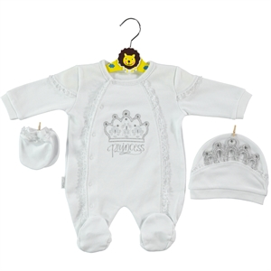 Minidamla Oh Baby Overalls 0-3 Months Baby Girl White Booty