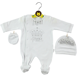 Minidamla Oh Baby, Booty Baby Boy Overalls 0-3 Months White