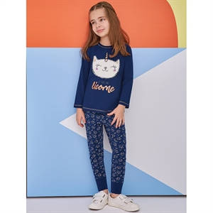 Roly Poly A Team Of 5-8 Years Girl Pyjama Navy Blue