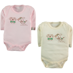 Misket Baby Organic 2-0-12 months Pink Bodysuit with snaps