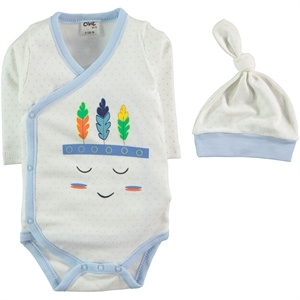 Civil Baby Baby Beanie 0-6 Months Blue Bodysuit With Snaps
