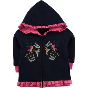 Kujju 6-18 Months Baby Girl Navy Blue Hooded Cardigan