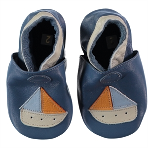 Funny Baby 16-19 Men's Leather Baby Booties Indigo Number