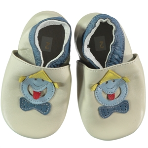 Funny Baby 16-19 Men's Leather Baby Booties Ecru Number